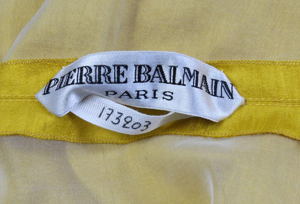 Pierre Balmain Haute Couture Chrome Yellow Silk Tunic & Pants 5
