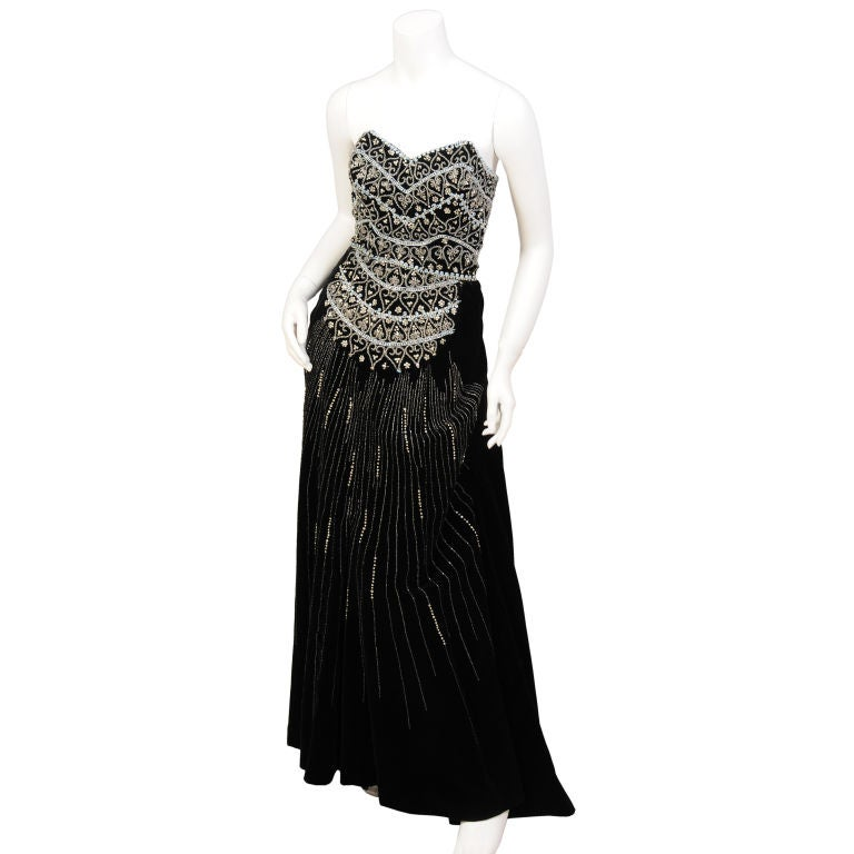 Strapless beaded dress and matching coat at 1stdibs for Costume jewelry for evening gowns