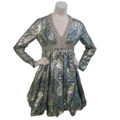Holt Renfrew Silver Brocade Silk Metallic Dress