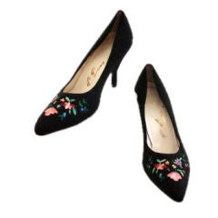 Gi Gi Black Beaded Pumps with Embroidered Flowers, Circa 1950's