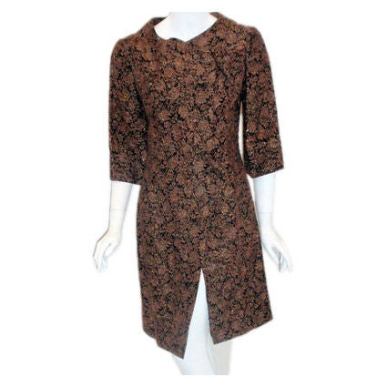 James Galanos Gold Orange over black Brocade Design Evening Coat 1960s