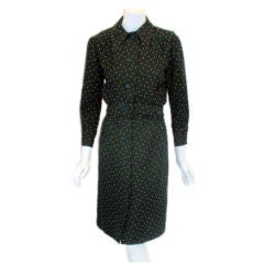 GALANOS two-piece green wool skirt ensemble, Circa 1970s