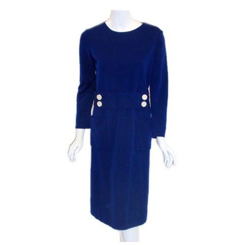 1960's Norman Norell Royal Blue Wool w. Self-Belt & Button Detail Day Dress