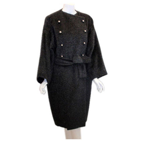 Patrick Kelly Charcoal Wool and Mohair Ladies Coat Circa 1980s
