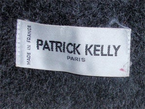 Patrick Kelly Charcoal Wool and Mohair Ladies Coat Circa 1980s 2
