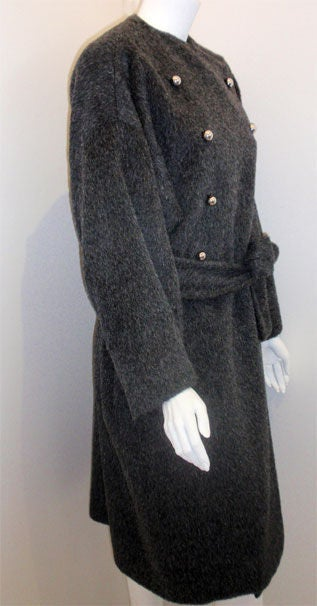 Patrick Kelly Charcoal Wool and Mohair Ladies Coat Circa 1980s 6
