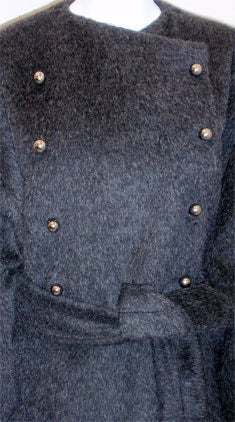 Patrick Kelly Charcoal Wool and Mohair Ladies Coat Circa 1980s 8