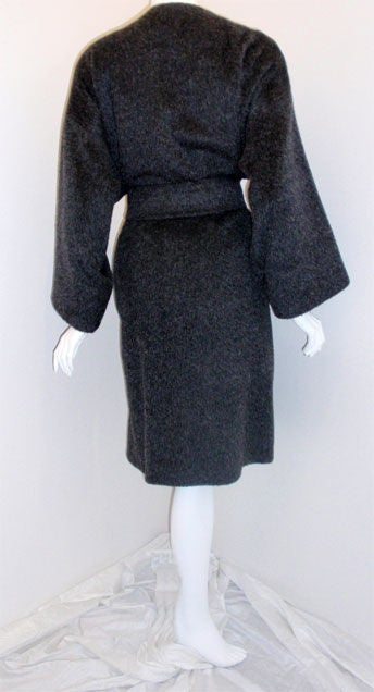 Patrick Kelly Charcoal Wool and Mohair Ladies Coat Circa 1980s 5