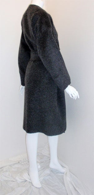 Patrick Kelly Charcoal Wool and Mohair Ladies Coat Circa 1980s 4