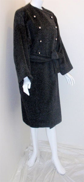 Patrick Kelly Charcoal Wool and Mohair Ladies Coat Circa 1980s 3