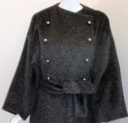 Patrick Kelly Charcoal Wool and Mohair Ladies Coat Circa 1980s 7
