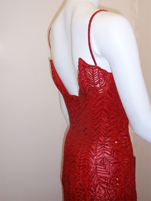Atelier Versace Red Sequin Evening Gown Melanie Griffith