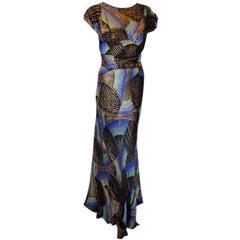 1930s Royal Blue & Gold Art Deco Multi-color Decadent Bias-cut gown size 4