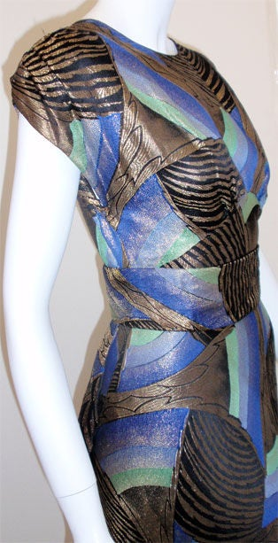 1930s Royal Blue & Gold Art Deco Multi-color Decadent Bias-cut gown size 4 5