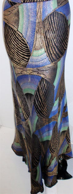 1930s Royal Blue & Gold Art Deco Multi-color Decadent Bias-cut gown size 4 7