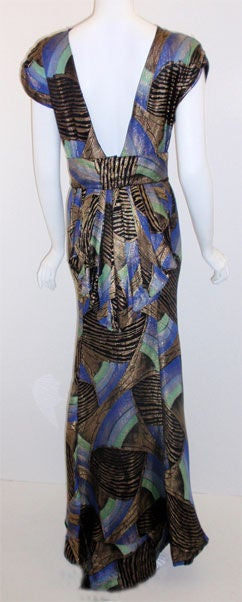 1930s Royal Blue & Gold Art Deco Multi-color Decadent Bias-cut gown size 4 4