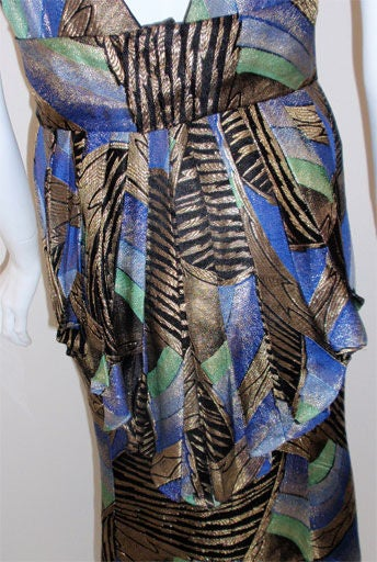 1930s Royal Blue & Gold Art Deco Multi-color Decadent Bias-cut gown size 4 8
