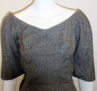 Charles James for Samuel Winston, gray mohair cocktail dress 6