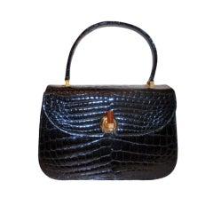 Sacha Black Alligator Handbag, Circa 1960's
