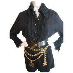 Chanel Silk Chiffon Ruffle collar blowse