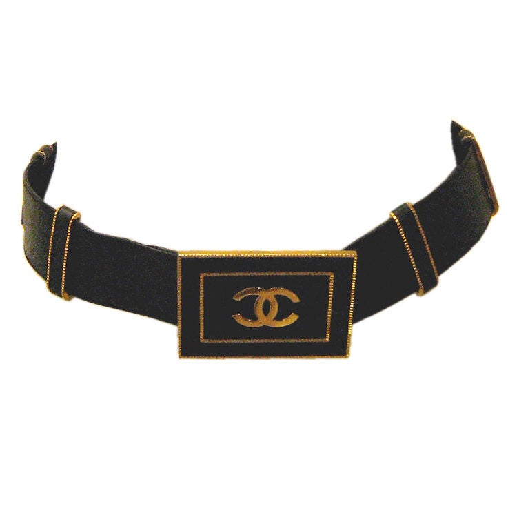 Chanel Black Large Logo Belt 1