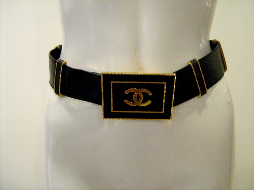 Chanel Black Large Logo Belt 2