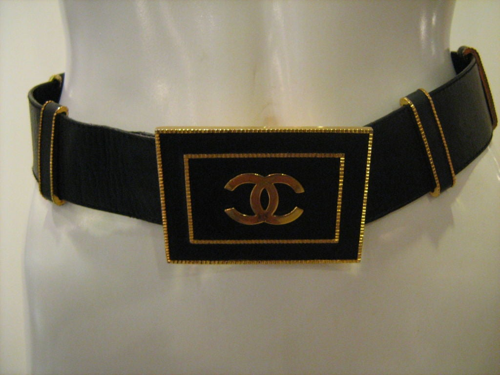Chanel Black Large Logo Belt 3