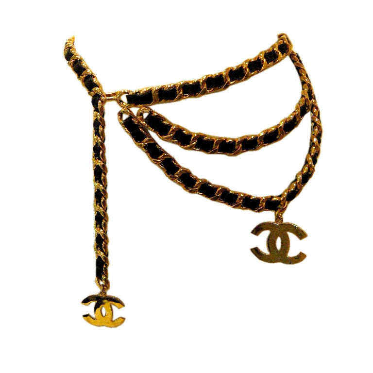 Chanel Leather and Gold Chain Belt 1
