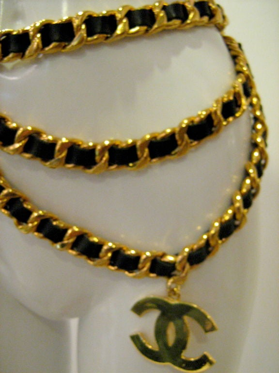 Chanel Leather and Gold Chain Belt 2