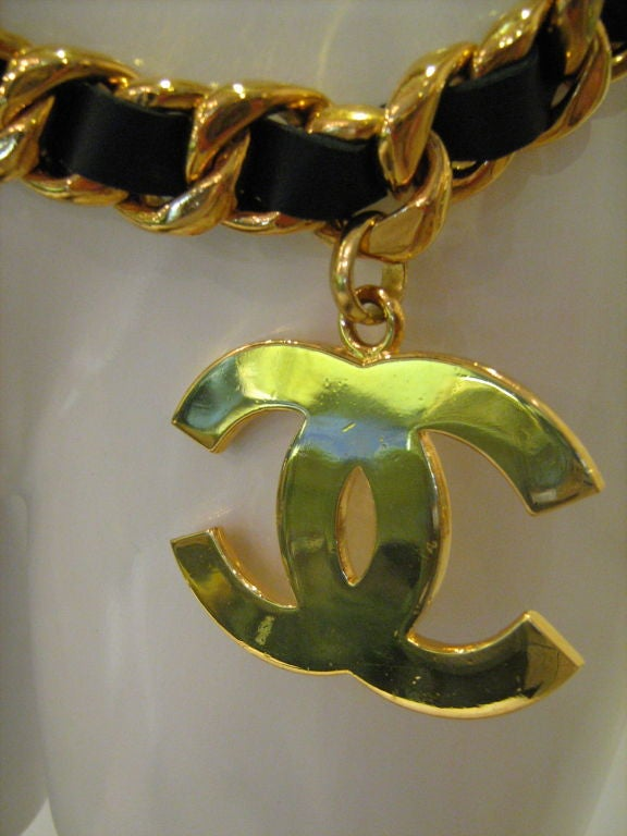 Chanel Leather and Gold Chain Belt 5