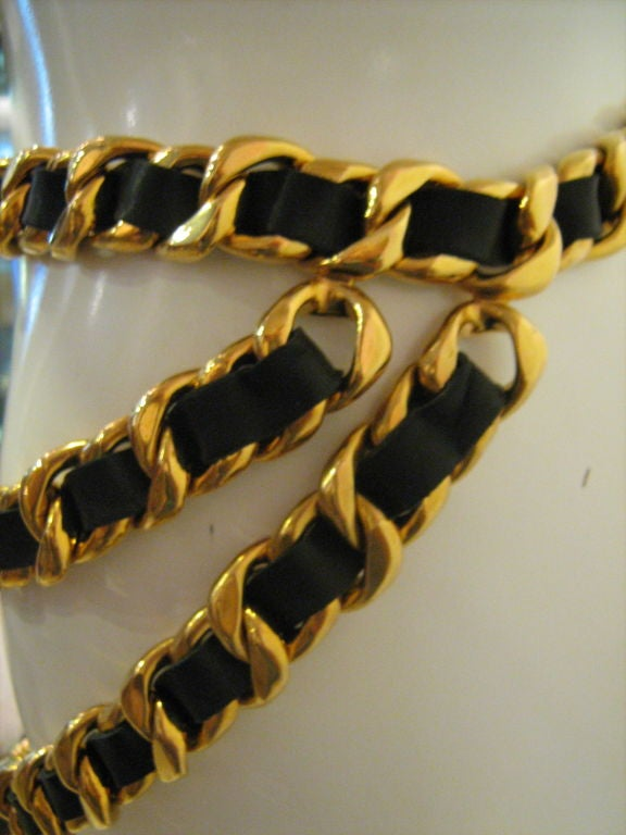 Chanel Leather and Gold Chain Belt 6