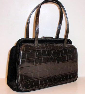 Prada Dark Brown Alligator Embossed Handbag, Circa 1990 at 1stdibs