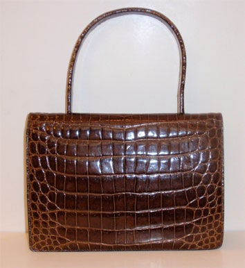 Beautiful Vintage Baby Crocodile Handbag At 1stdibs