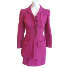 Lagerfeld Fuschia Fitted Button up Jacket with Skirt Suit