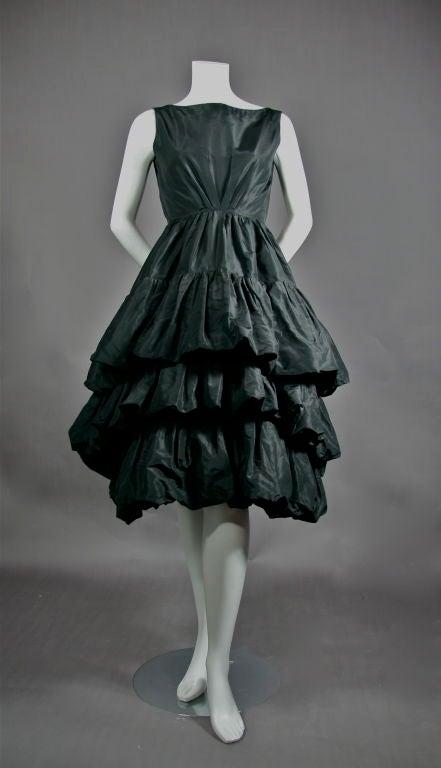 Ysl For Christian Dior Black Silk Tafetta Tiered Cocktail