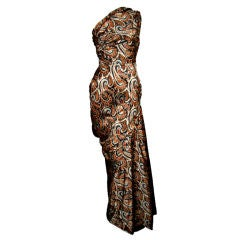 Givency Couture 1950s Printed Devoré Silk Velvet Gown