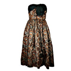 Givenchy 1950s Strapless Printed Silk Devoré Velvet Dress + Stole