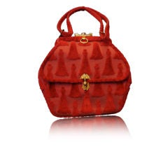 "Red Cut Velvet Roberta Di Camerino ""Tassle"" Bag"