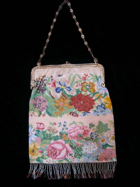 Beaded Purse with Brass Clasp and Handle. image 6