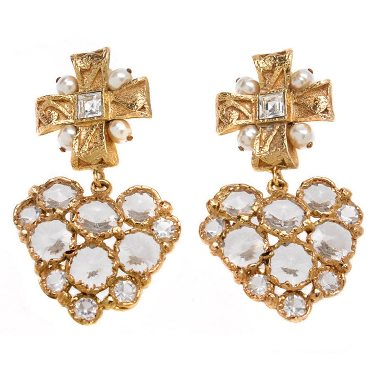 Cross Earrings on Christian Lacroix Earrings