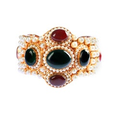 Vintage CHANEL Cuff with Glass Cabochons and Faux Pearls