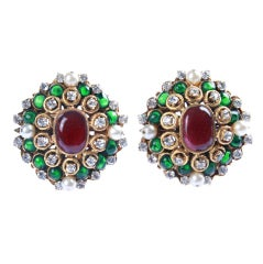 Fabulous Vintage Chanel Poured Glass  Clip on Earrings