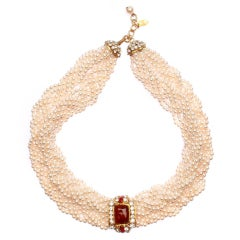 Chanel  Pearl , Poured Glass and  Rhinestone Torsade Necklace