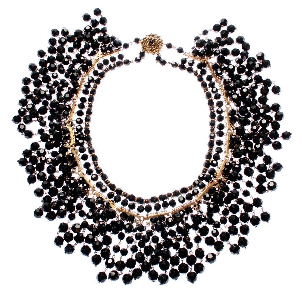 black multi layered beaded necklace at 1stdibs