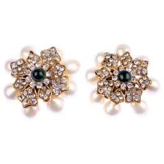 CHANEL Pearl, Rhinestone and Poured Glass Earrings