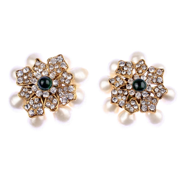 chanel pearl rhinestone and poured glass earrings