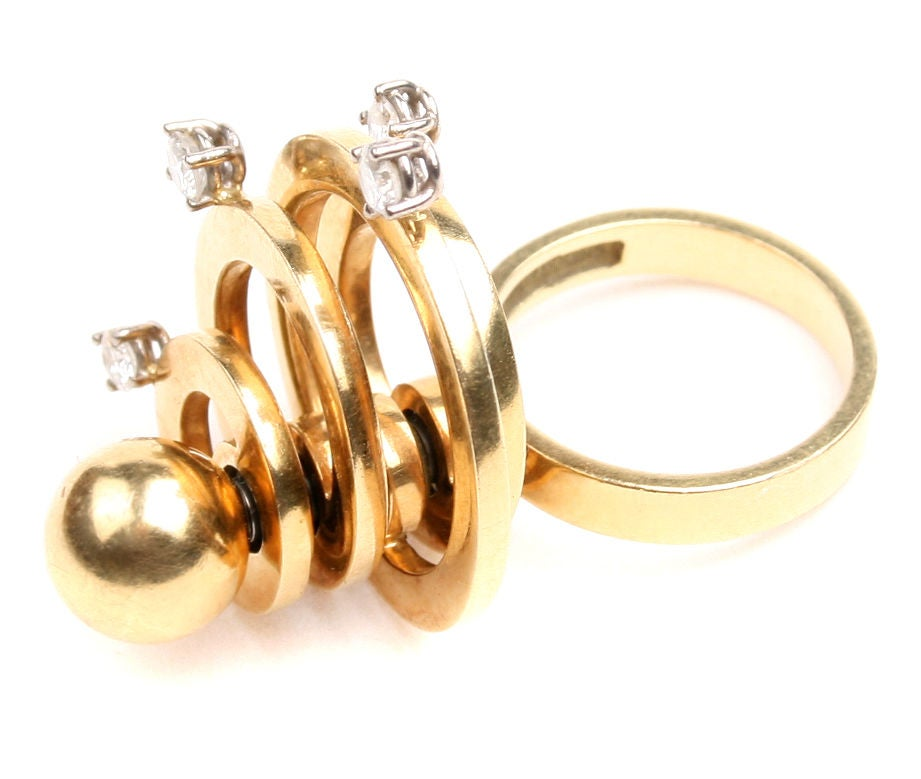 mod kinetic ring gold with diamonds at 1stdibs
