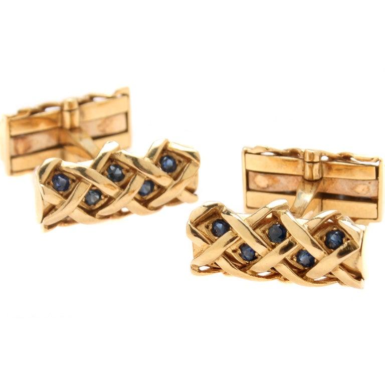 Jewelry Cufflinks Cufflinks Tiffany Co 18kt Gold Saphire Cufflinks Id J 1587 Tiffany Cuff Links