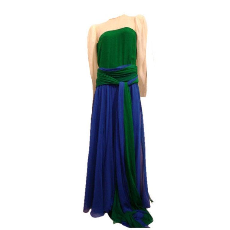 1980s Galanos Grecian Chiffon Wrap Gown