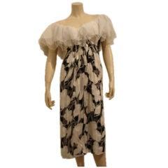 1980s Givenchy Silk Print and Organza Dress